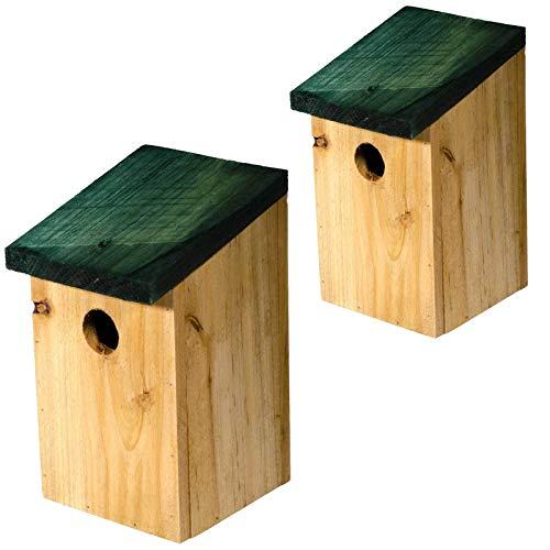 SIDCO Vogelhaus 2 x Nistkasten Holz Vogelhäuschen Nisthaus Meisen Nisthöhle Futterhaus