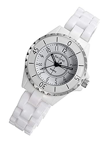 RXSHOUSH Reloj de Mujer White Ceramic Watch Girls a Prueba de Agua Reloj de Cuarzo con Puntero Digital Reloj de Pulsera White