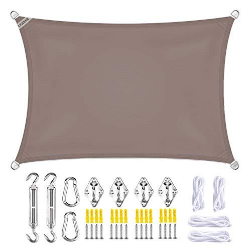 LRHRHR Toldo Vela de Sombra Rectangular Protección UV Impermeable con Kit de Montaje, para Patio Exteriores Jardín- Khaki|| 5x7m(16x23ft)