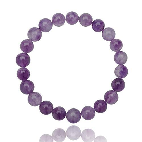 Unique pulsera de perlas Amatista violeta 8mm grado AAA banda elástico One Size Fits All 16cm para 20cm