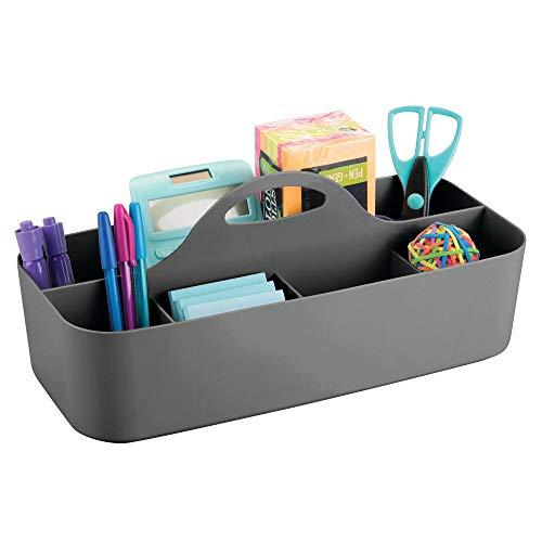 mDesign Schreibtisch Organizer mit Griffen – praktischer Büro Organizer mit 11 Fächern fürs Arbeitszimmer – Box für Büroorganisation für Stifte, Radiergummi und anderes Bürozubehör – dunkelgrau