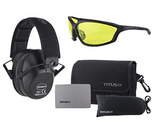 Titus 2シリーズ - 34 NRR スリムライン 補聴器保護&G26 Competition Z87.1 安全メガネ コンボ (ブラック、イエロー)