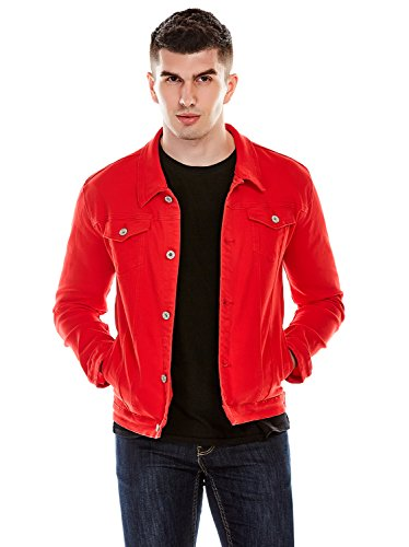Idopy Men`s Casual Cowboy Rugged Jean Denim Biker Trucker Jacket (US L, Red)