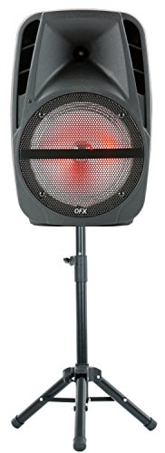 "QFX PBX-61161 15"" Portable Party Speaker with Wireless Microphone & Stand, Black"