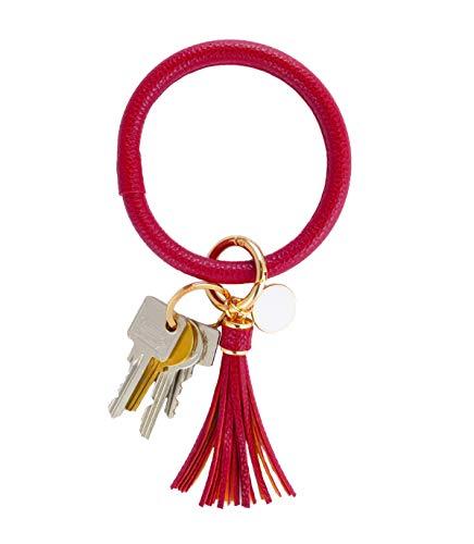 THOMELA Schlüsselanhänger Armreif - Quast - Kunstleder - goldene Ringe & Schnellverschluss - Modetrend 2020 - Geschenkbox Set (Bordeauxrot)