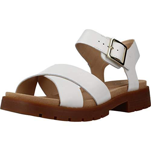Clarks Orinoco Strap, Sandalias de Talón Abierto Mujer, Blanco (White Leather White Leather), 39 EU