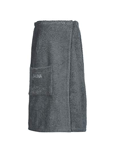 myHomery Frottee Sauna-Kilt – Handtuch mit praktischem Klettverschluss und Gummizug – Fester Halt – Sarong Made in EU – Saunakilt Öko-Tex Standard – Anthrazit | Sauna-Kilt 76x150 cm