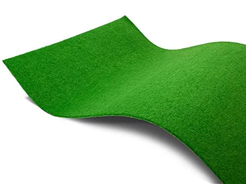 Rasenteppich ohne Noppen Meterware GARDEN B1 - Hell-Grün, 2,00m x 1,00m, Schwer Entflammbarer Indoor Kunstrasen Teppichboden für Innenbereiche