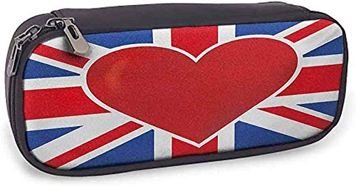 HQSL Astuccio in pelle Pencil case Union Jack Storage British Flag with a Big Red Heart in Center Nationality Pride Concept;Royal Red