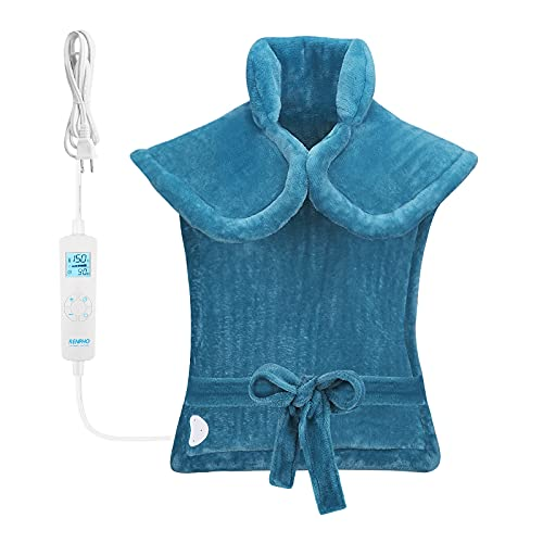 RENPHO Large Heating Pad for Back Relaxation, 24'x33'' Weighted Heating Pad for Neck and Shoulders, Fast-Heating with 6 Temperature Settings, Auto Shut Off Available, ETL Certified - Blue