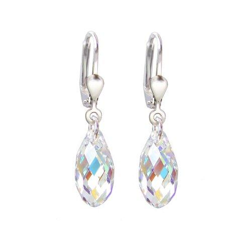 Schöner-SD, 925 Silber Ohrringe mit kleinen Kristallen von Swarovski® 13mm Farbe Crystal Aurora Boreale