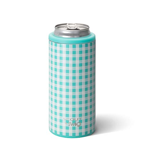 Swig Life 12oz Triple Insulated Skinny Can Cooler, Dishwasher Safe, Double Walled, Stainless Steel Slim Can Coozie for Tall Skinny Cans in SCOUT Barnaby Checkham Pattern (Multiple Patterns Available)