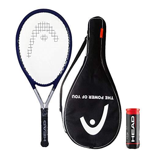 HEAD TiS5 - Racchetta da tennis in titanio con copertura e 3 palline da tennis da campionato (impugnatura da L1 a L5) (impugnatura 2 (4 1/4')