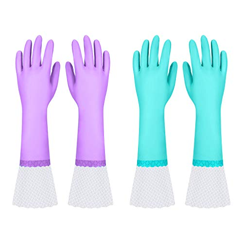 Reusable Long Dishwashing Cleaning Gloves with Latex Free, Long Cuff,Cotton Lining,Kitchen Gloves 2 Pairs(Purple+Blue,Medium)