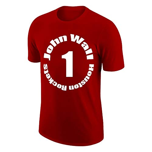 W&F Camiseta de manga corta para hombre John Wall #1 con cuello redondo para jóvenes, camiseta de ejercicio (color: rojo, talla: XXXL)