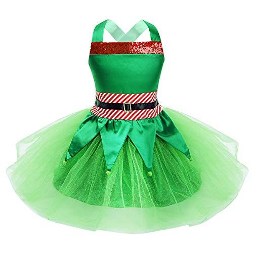inlzdz 2Pcs Vestido Fiesta Carnaval Disfraz Elfa Niña Navidad Vestido Lentejuelas de Fiesta Princesa Top sin Mangas Falda Tutú Cintura Elastica Verde 9-10 años