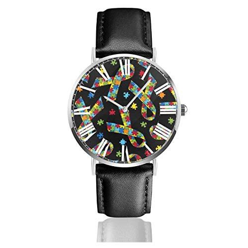 Relojes de Pulsera Autism Awareness Reloj de Cuarzo con Correa de Cuero de PU para Hombre Mujer colección Regalo Unisex Informal de Negocios
