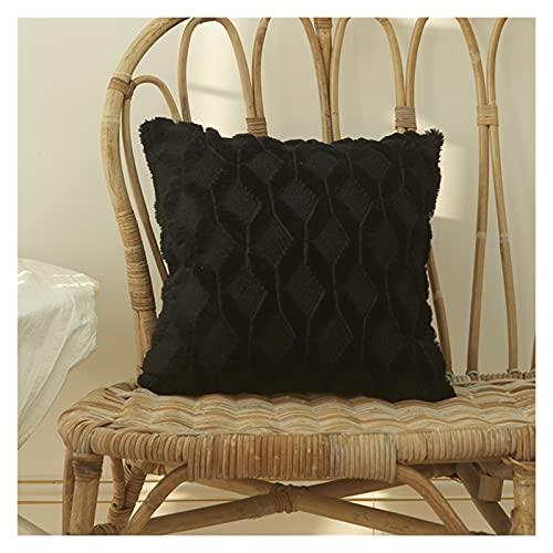 Adecuado para cojín de Piel Cubierta de Almohada Casa de Almohada Sala de Estar Decoración Sofá Decoración Pastilla de rellusco Funda nórdica Rayas (Color : Black, Size : 50CM X 50CM)