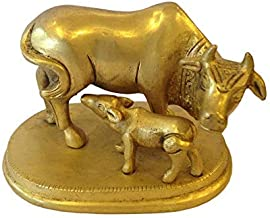 VRINDAVANBAZAAR.COM Brass Asta Dhatu Made Cow and Calf Idol 3 inches