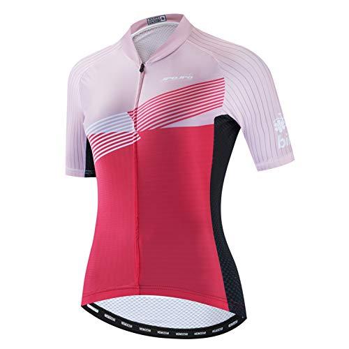 Weimostar Radtrikot Damen Fahrrad Trikot voller Reißverschluss Fahrrad Hemd Kurzarm Rennradbekleidung Reiten Rennen MTB Top Kleidung für Damen Bergsport Top Sommer Pink Reiten Größe M.