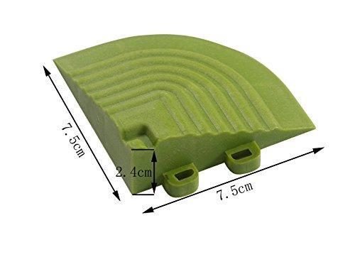 BodenMax® Kunstrasen Click Bodenfliesen Set 30 x 30 cm Terrassenfliesen Rasen Terrassenplatte Kunststoffrasen Fliese Gras Klickfliesen (Eckteil 4 Stück)