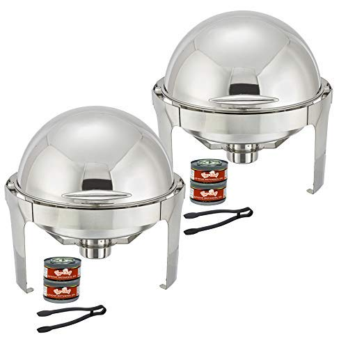 Tiger Chef Chafing Dish Buffet Set - 6 Quart Food Warmer Stainless Steel - Round Roll Top Chafer - 2 Chafing Dish Sets with 2 Serving Tongs and 4 Chafing Dish Fuel Gels