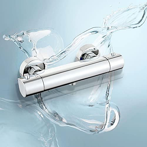 Fugo Miscelatore termostatico per doccia, rubinetti per vasca da bagno con volantino a forma di goccia d'acqua, valvola per miscelatore per vasca da bagno cromata - montaggio a parete