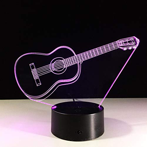 LPHMMD Nachtlampje 3D Lamp Gitaar 7 Kleur LED Nachtlampen Kids Touch LED USB Baby Slee Lights met Motion Sens
