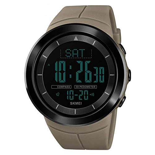 orologio da polso con contapassi Orologi da uomo Orologi da polso sportivi digitali Impermeabile con contapassi multifunzione Orologio militare
