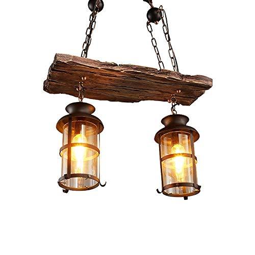 Retro Holz Pendelleuchte Vintage Schwarz Eisen und Glas Lampenschirm Hängelampe für Wohnzimmer Bar Loft E27 * 2 Kronleuchter Rustikal Industriell Hänge Leuchter Höhenverstellbar (21,7 * 39,4 Zoll)