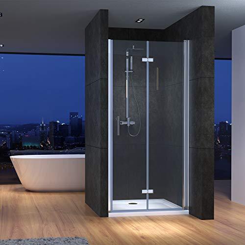 Nischentür Duschabtrennung Nische Duschkabine 100cm Rahmenlos Einzelfalttür Falttür Duschtür Dusche 6mm Nano Glas Höhe:195cm