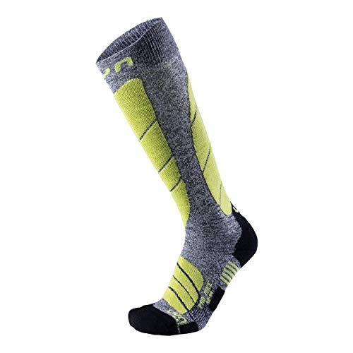 UYN Pro Race Chaussettes de Ski en Laine mérinos pour Homme, Homme, S100039, Grey Melange/Green Lime, 35/38