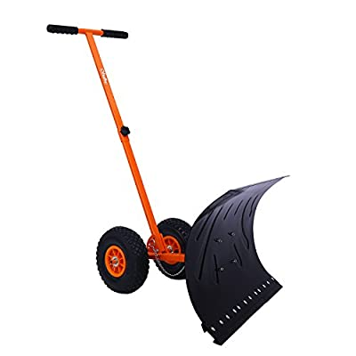 Ohuhu Wheeled Snow Shovel, Heavy Duty Metal Rolling Snow Pusher Snow Removal Tool for Driveway Doorway