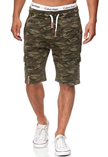 Indicode Herren White Rock Cargo Sweatshorts m. 5 Taschen aus 100% Baumwolle | Kurze Hose Cargo Shorts Militär Camouflage Sporthose Army Short Sweat Pants Freizeithose f. Männer Army S