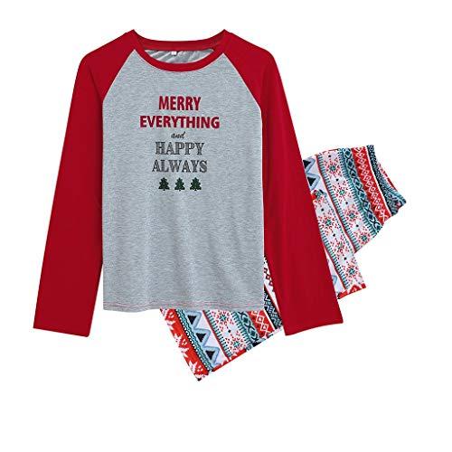 Bascar Nachtwäsche Schlafanzug Crew-Neck Family Matching Christmas Snowflake Pyjamas Herren Nachtwäsche Anzug Top und Hose Nachtwäsche Anzug Pyjamahose Sleepwea (S)