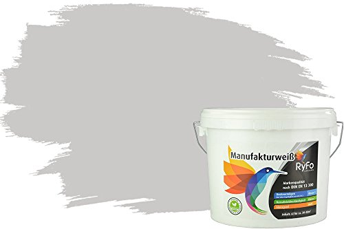 RyFo Colors Bunte Wandfarbe Manufakturweiß Hellgrau 6l - weitere Grau Farbtöne und Größen erhältlich, Deckkraft Klasse 1, Nassabrieb Klasse 1