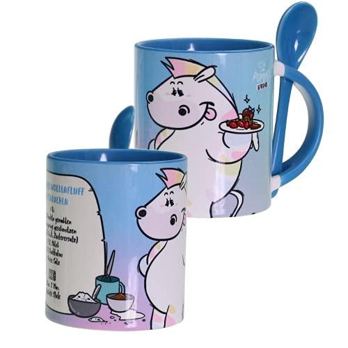 Pummel & Friends - Tasse mit Löffel (blau) - Zebrasus