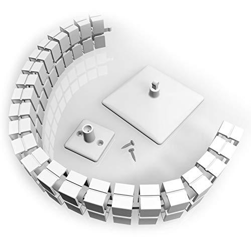 Kabelführung, eckig, flexibel, für Schreibtisch, inkl. Fußplatte, Tischanbindung und Schrauben, Länge ca. 780 mm. Farbe weiß