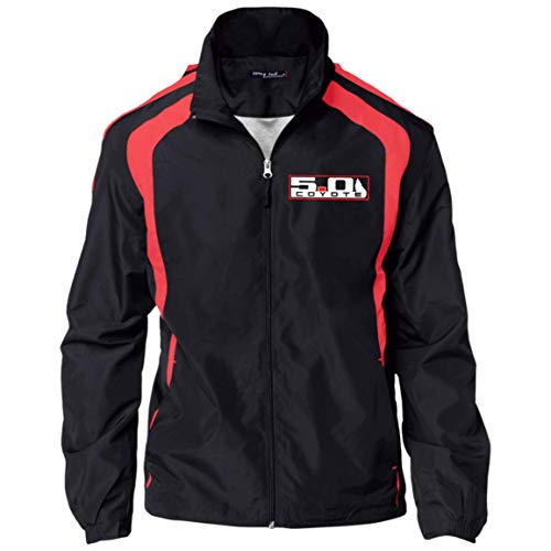 Wheel Spin Addict Men's Coyote 5.0 Mustang S550 S197 Jersey-Lined Jacket Black/True Red