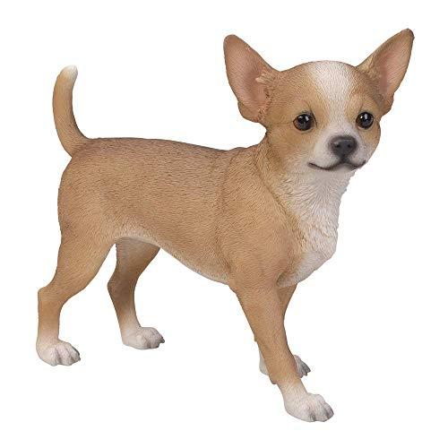 ABZ Brand Chihuahua Life Like Dog Glass Eyes Statue Tan