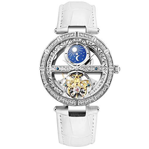 RORIOS Mujer Relojes de Pulsera Mecánico Automático Relojes Self Winding Relojes para Mujer de Correa de Piel Impermeable Mujer Reloje