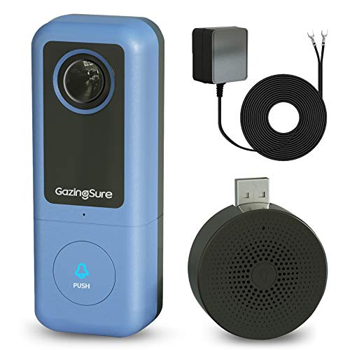 GazingSure Video Doorbell Camera, 2K Quad HD, WiFi Doorbell Camera with Chime, Smart Detection Zone, Work with Alexa, Cloud/SD Card Storage - Requires Existing Doorbell Wiring or Provided Adapter