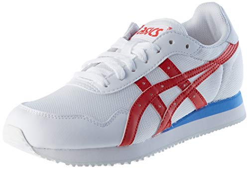 ASICS Herren Tiger Runner Sneaker, White/Classic Red, 42.5 EU