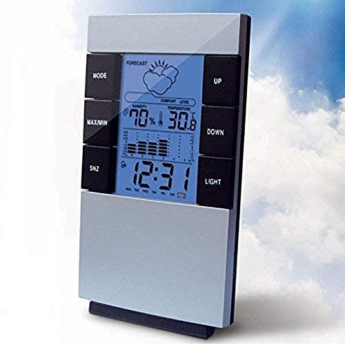 PKLFQQA Reloj Despertador LCD Digital termómetro higrómetro Temperatura electrónica higrómetro estación meteorológica Hermosa Fashio