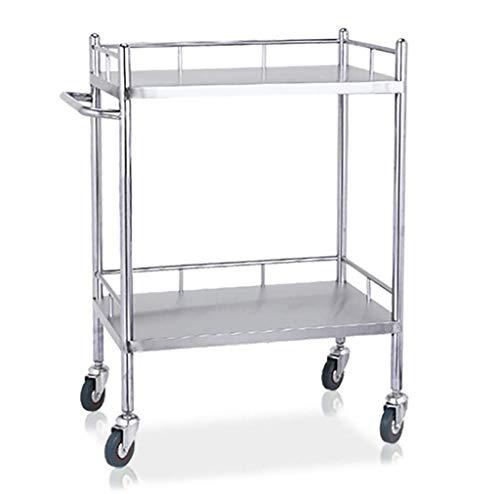 2-stufiger medizinischer Wagen Edelstahl-Behandlungswagen/Doppelschichtwagen/Wagen for medizinische Laborgeräte/Schönheitssalon-Werkzeugwagen Größe: XL- cxjff (Size : S)