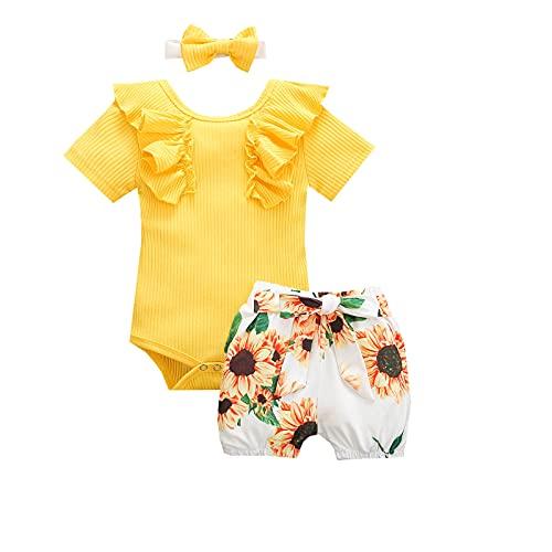 Psafagsa Ropa de verano para bebé de 3 piezas, conjunto de body con volantes florales, 0-24 meses, Amarillo 1, 12- 18 meses