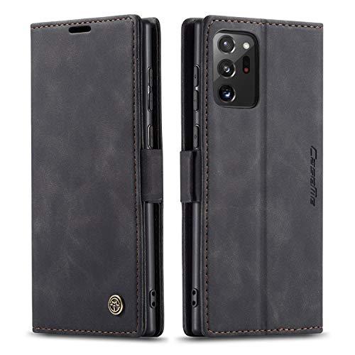 mvced Funda para Samsung Galaxy Note 20 Ultra,Funda Móvil Funda Libro con Tapa Magnética Carcasa,Negro