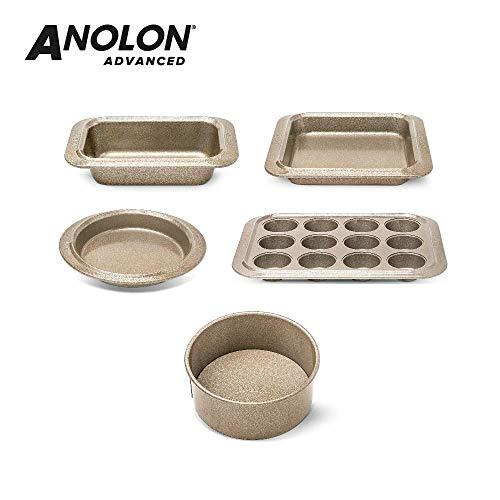 Anolon Advanced 5-teiliges Backset, hochwertiges Antihaft Kuchenset, spülmaschinenfestes Backformen Set, Karbonstahl Backformen