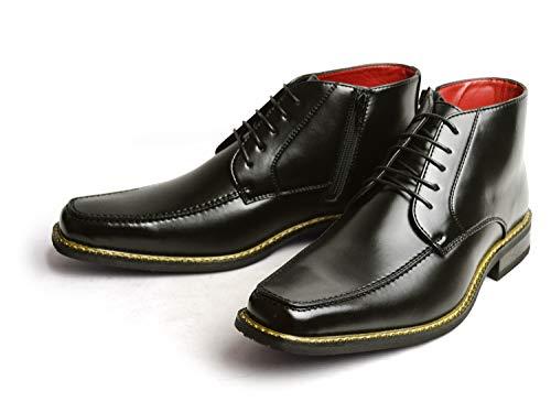 [タケゾー] ビジネスシューズ メンズ ブーツ 防水 防滑 抗菌 革靴 靴 レインシューズ スワールモカ 防滑 防臭 幅広 3EEE 脚長 雨靴 紳士靴 メンズシューズ レースタイプ 25.5cm