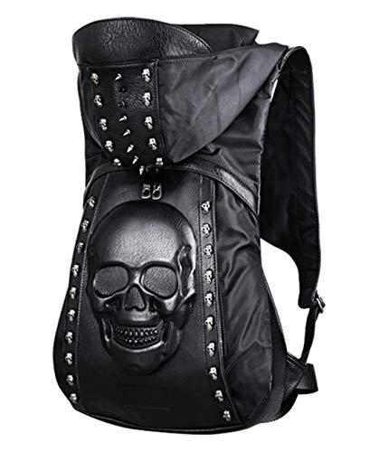 Skull Punk Art Mochila, Mochila con Capucha y Remaches, Bolso gótico, Calavera 3D de Piel sintética, Mochila para el día de pitón, Bolsa de Hombro para computadora portátil